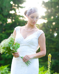 bride with wedding flowers bouquet