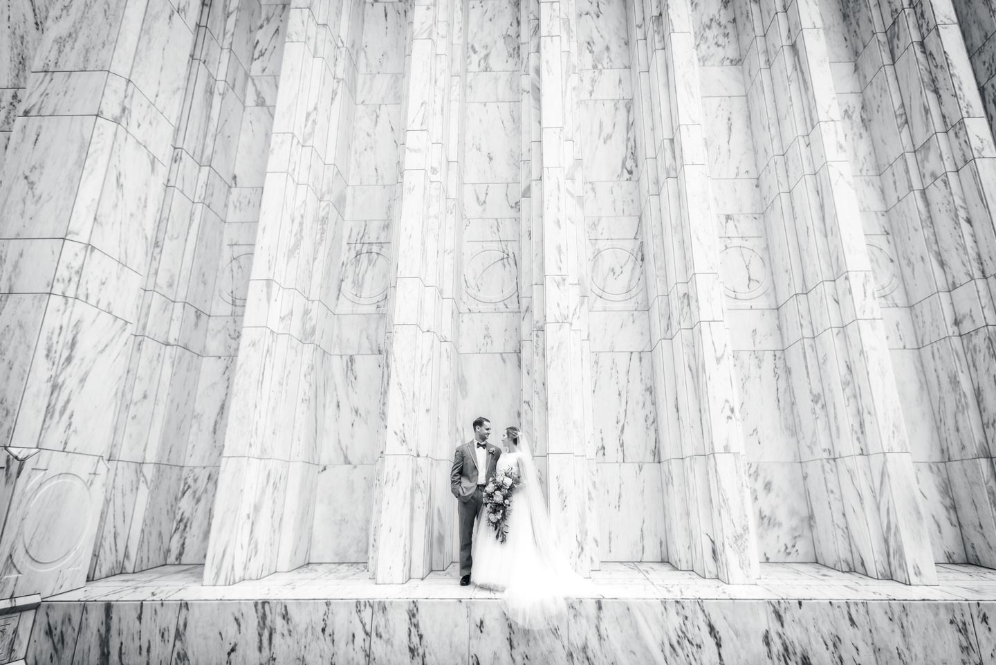 bride and groom at the portland temple